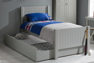 grey single bed