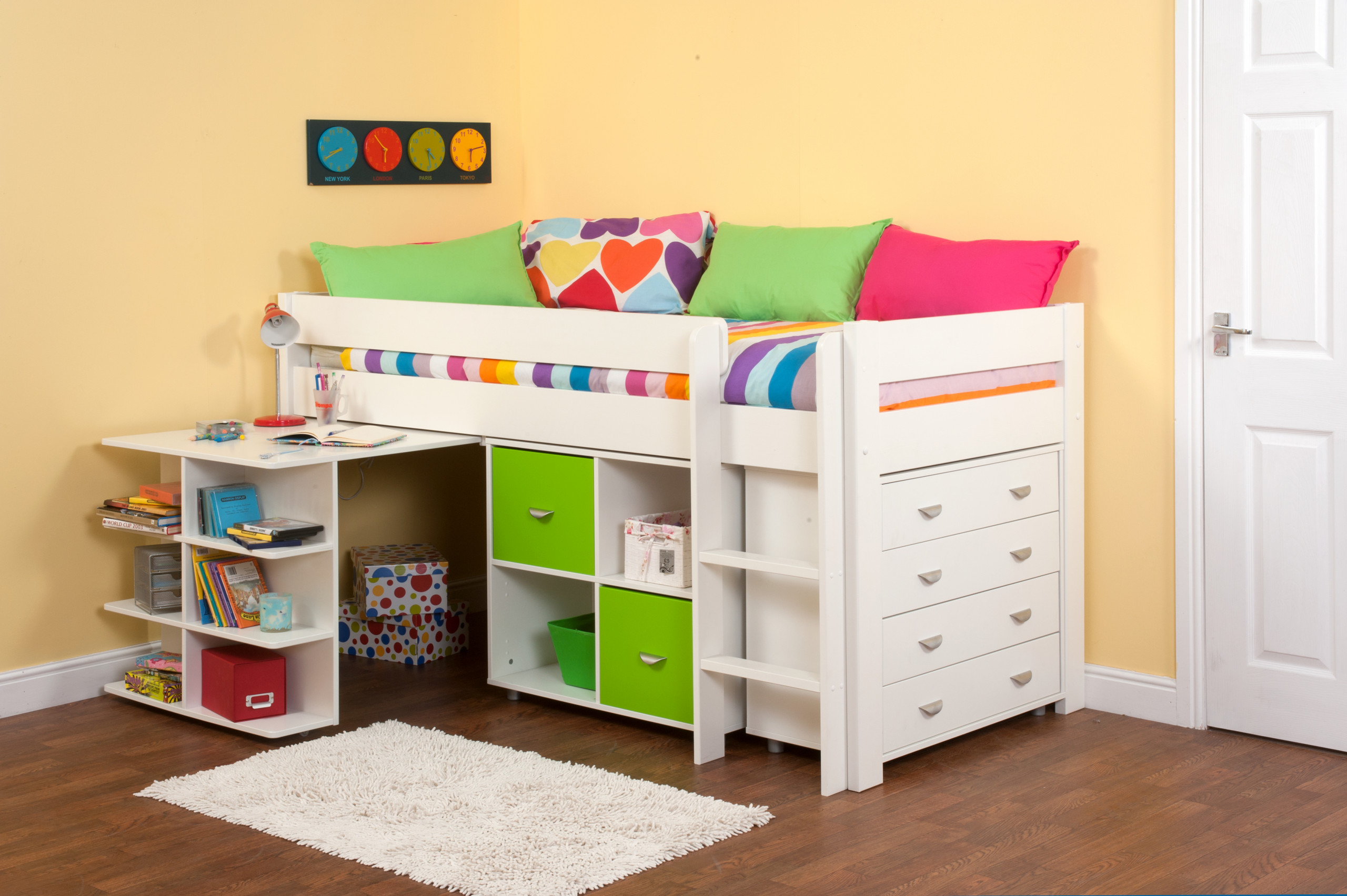 green cabin bed