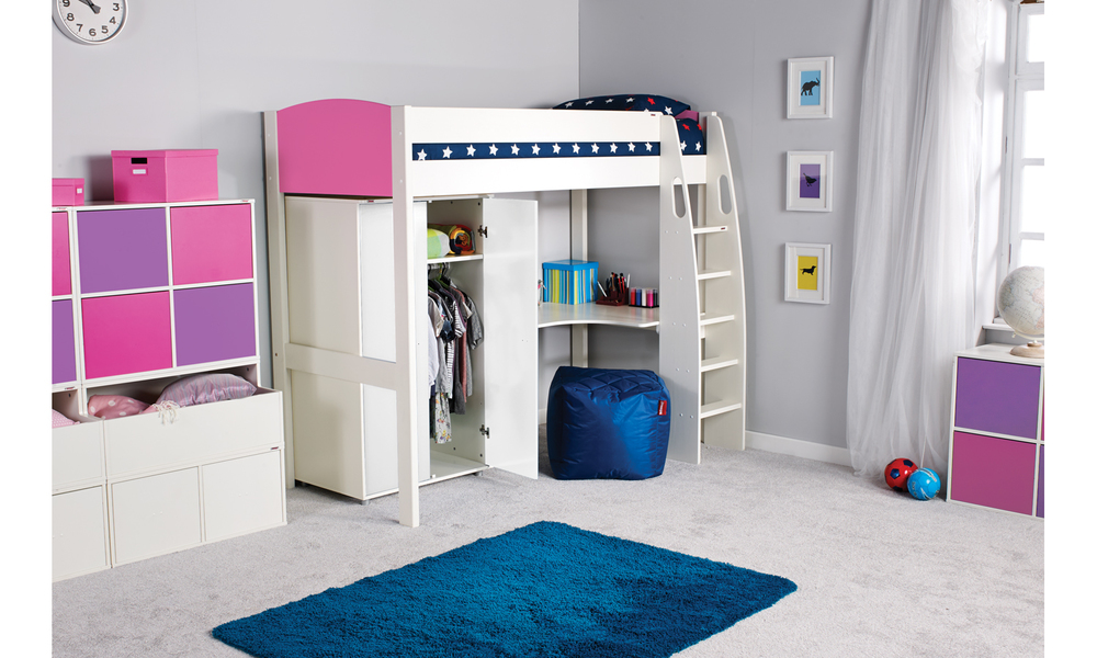Unos highsleeper with desk-pink