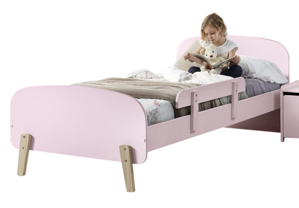 Sherbert Single Bed in Pink with safety rail