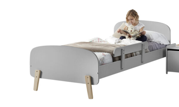 Sherbert Single BEd in Grey with safety rail