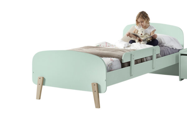 Sherbert Single Bed in Mint Green with safety rail