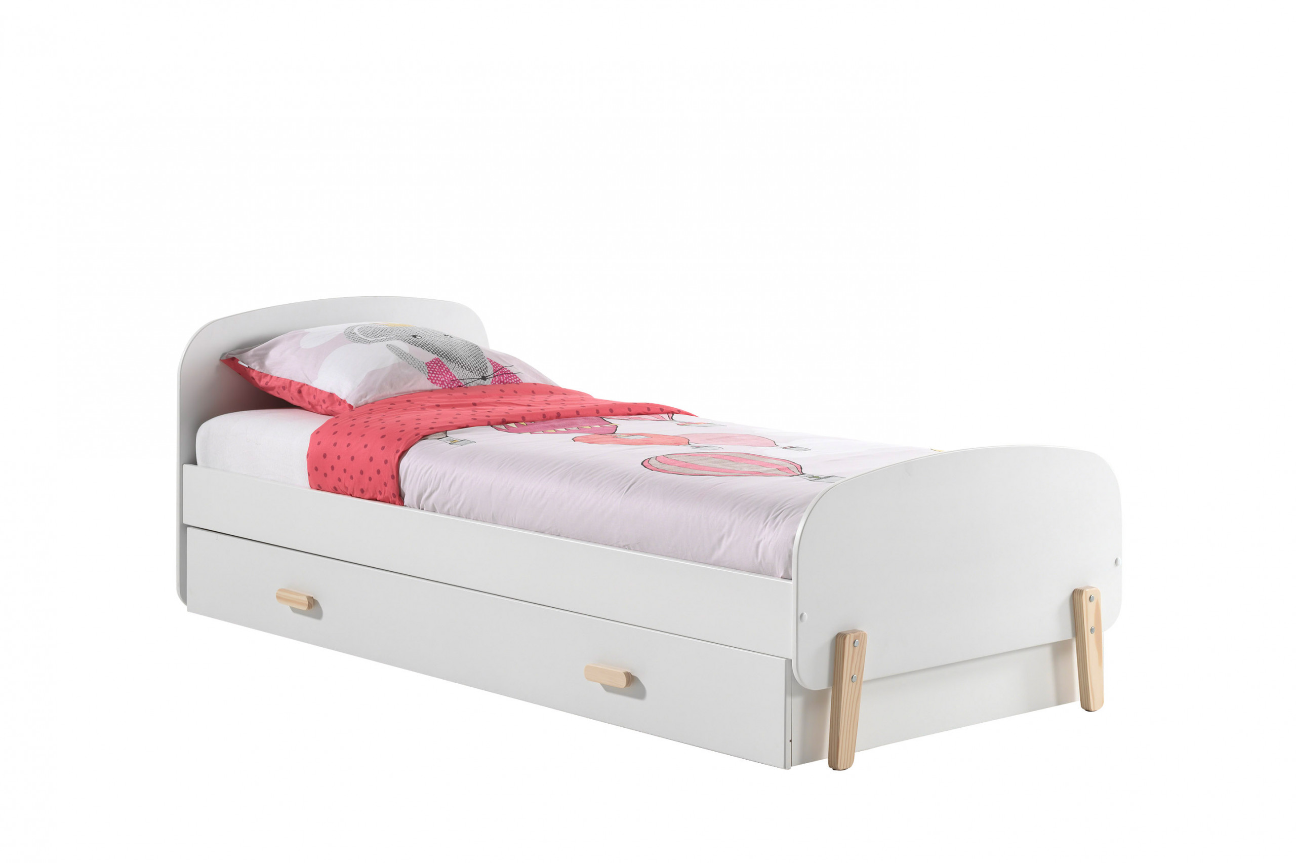 Sherbert SIngle Bed in White with trundle