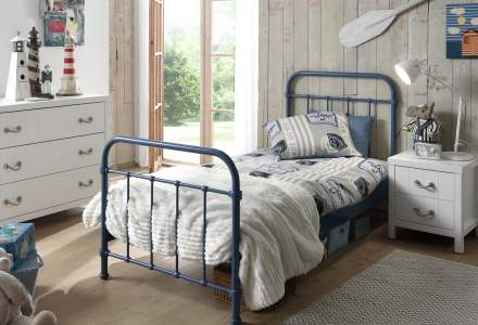 City Metal Single Bed in Blue