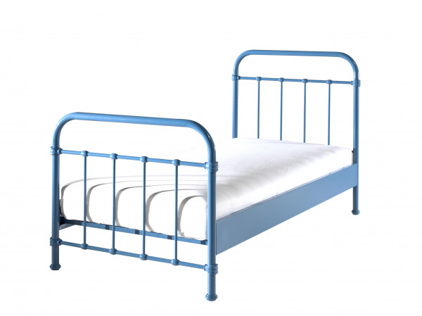City Metal Single Bed in Blue with mattress