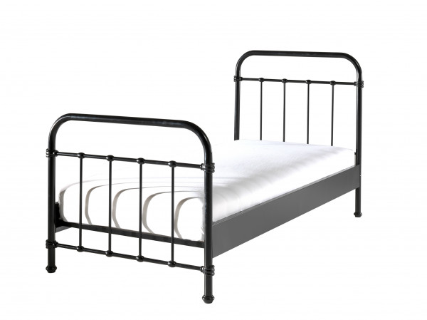 City Metal Single Bed in Black with mattress