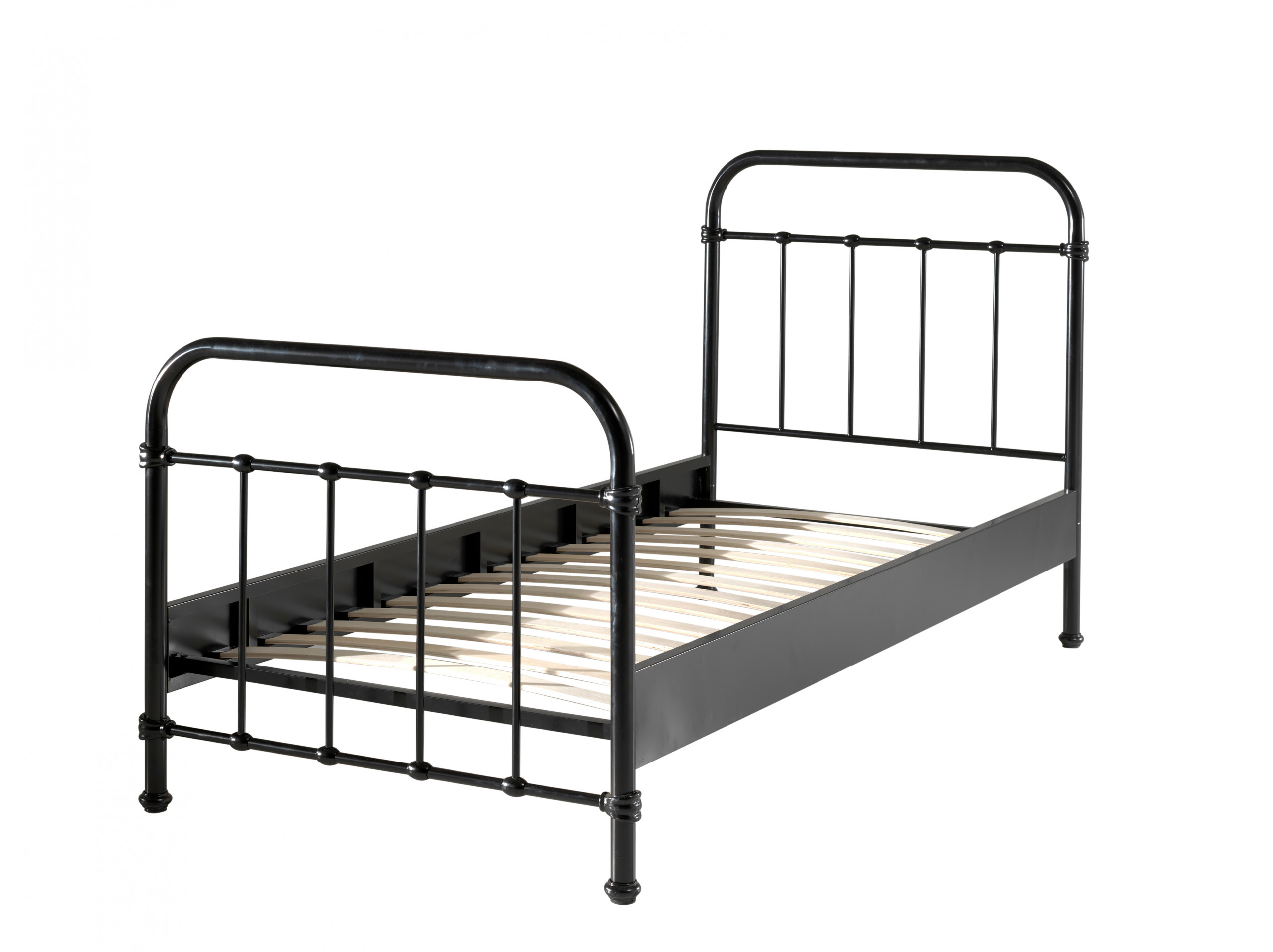 City Metal Single Bed in Black cut out