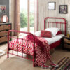 City Metal Single Bed in Red