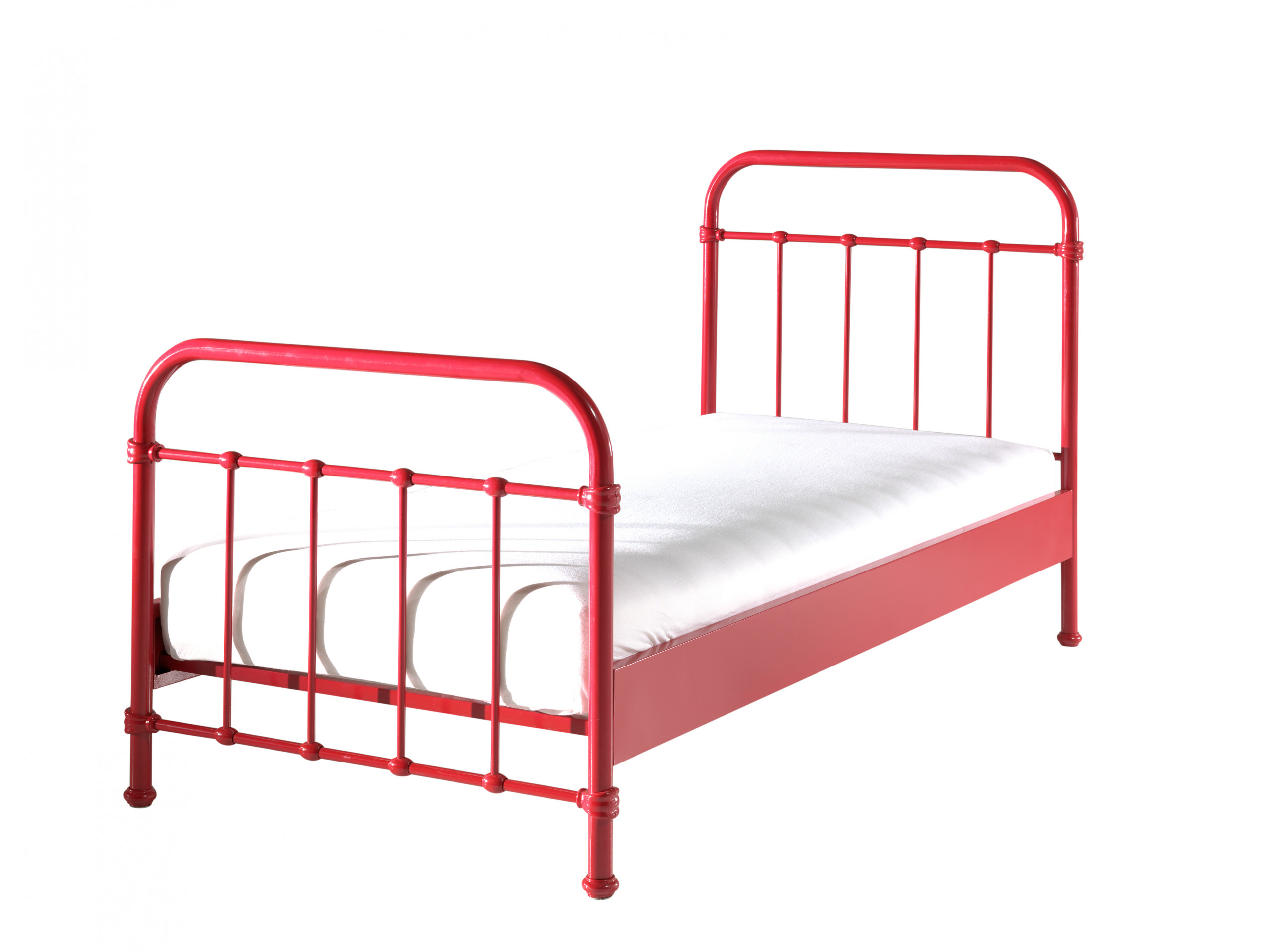 City Metal Single Bed in Red with mattress