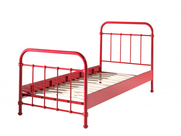 City Metal Single Bed in Red cut our