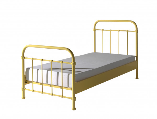City Metal Single Bed in Yellow with mattress