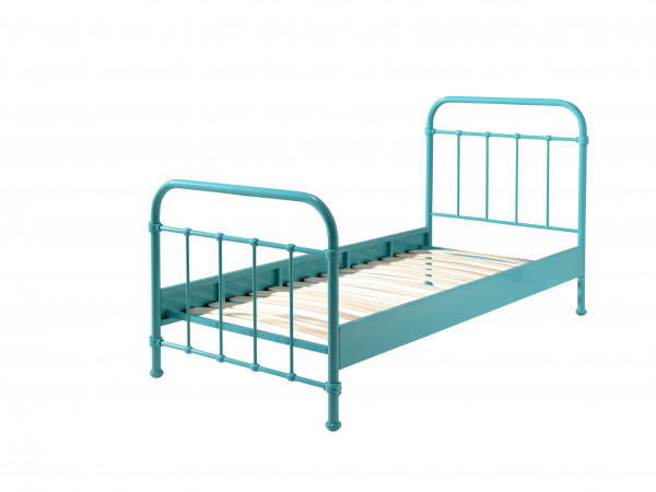City Metal Single Bed - Mint Green - cut out