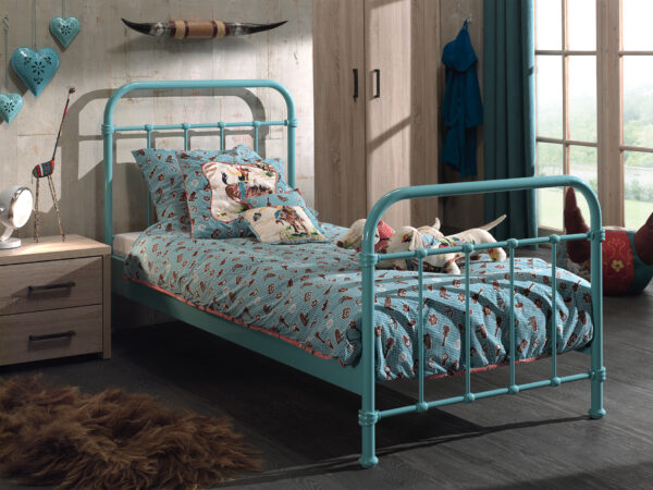 City Metal Single Bed - Mint Green
