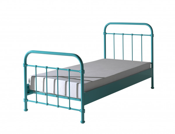 City Metal Single BEd - Mint Green with mattress
