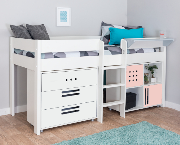 pink bed with chest