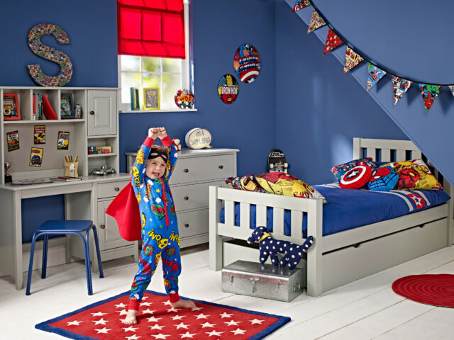 A superhero themed bedroom styled by Room to Grow