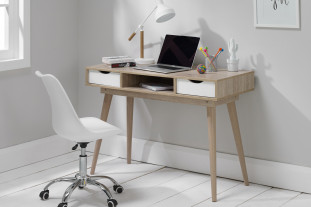 Aven Desk with White Drawers