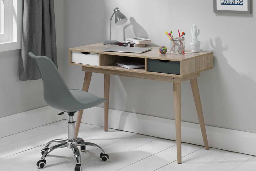 Aven Desk with White & Grey Drawers