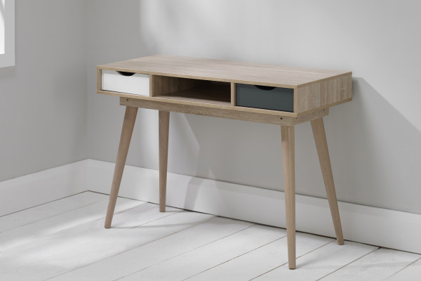 Aven Desk with White & Grey Drawers No Props