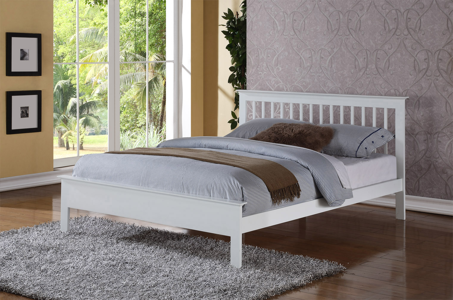 Pentre White Wooden Double Bed