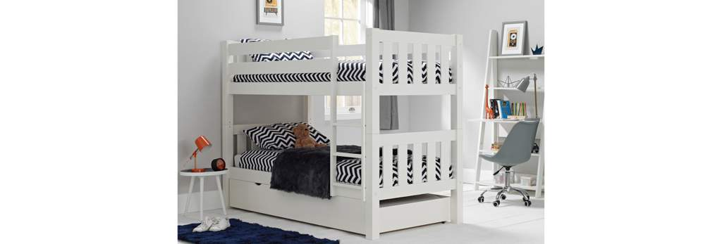 Girl's Bunk Bed with white and black ZigZags