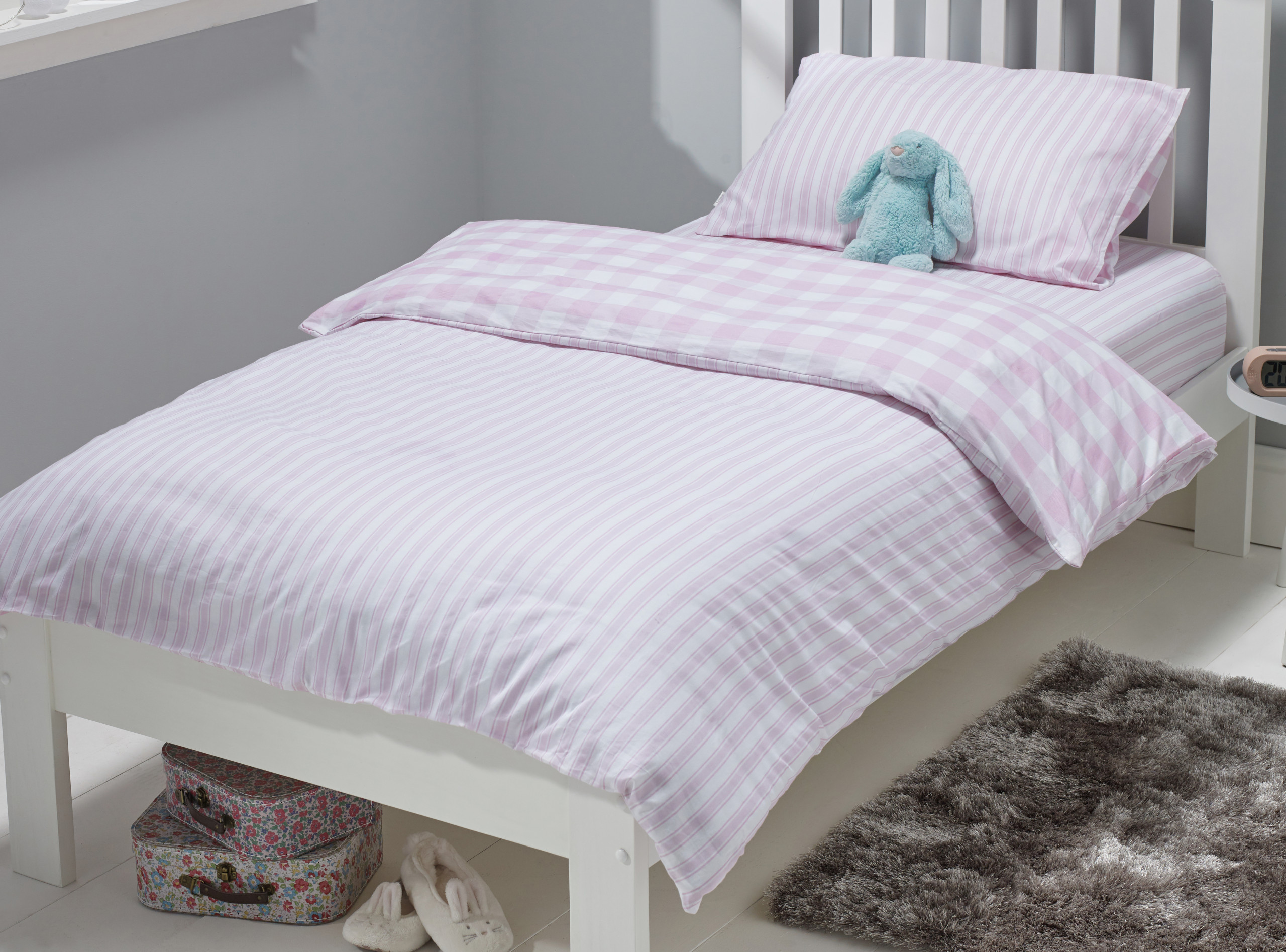 pink check and stripe duvet
