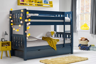 blue bunk with trundle