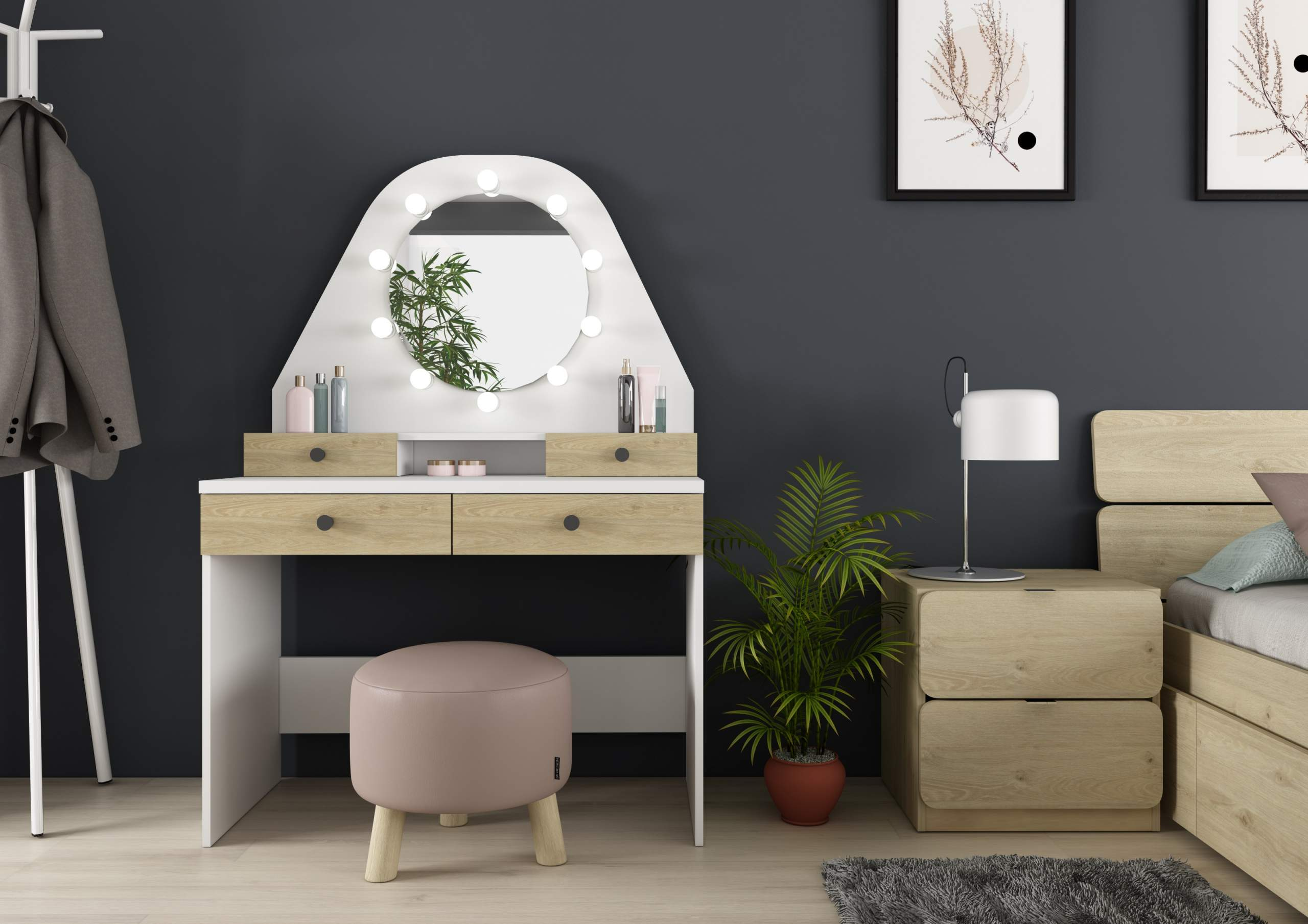 dressing table with lights