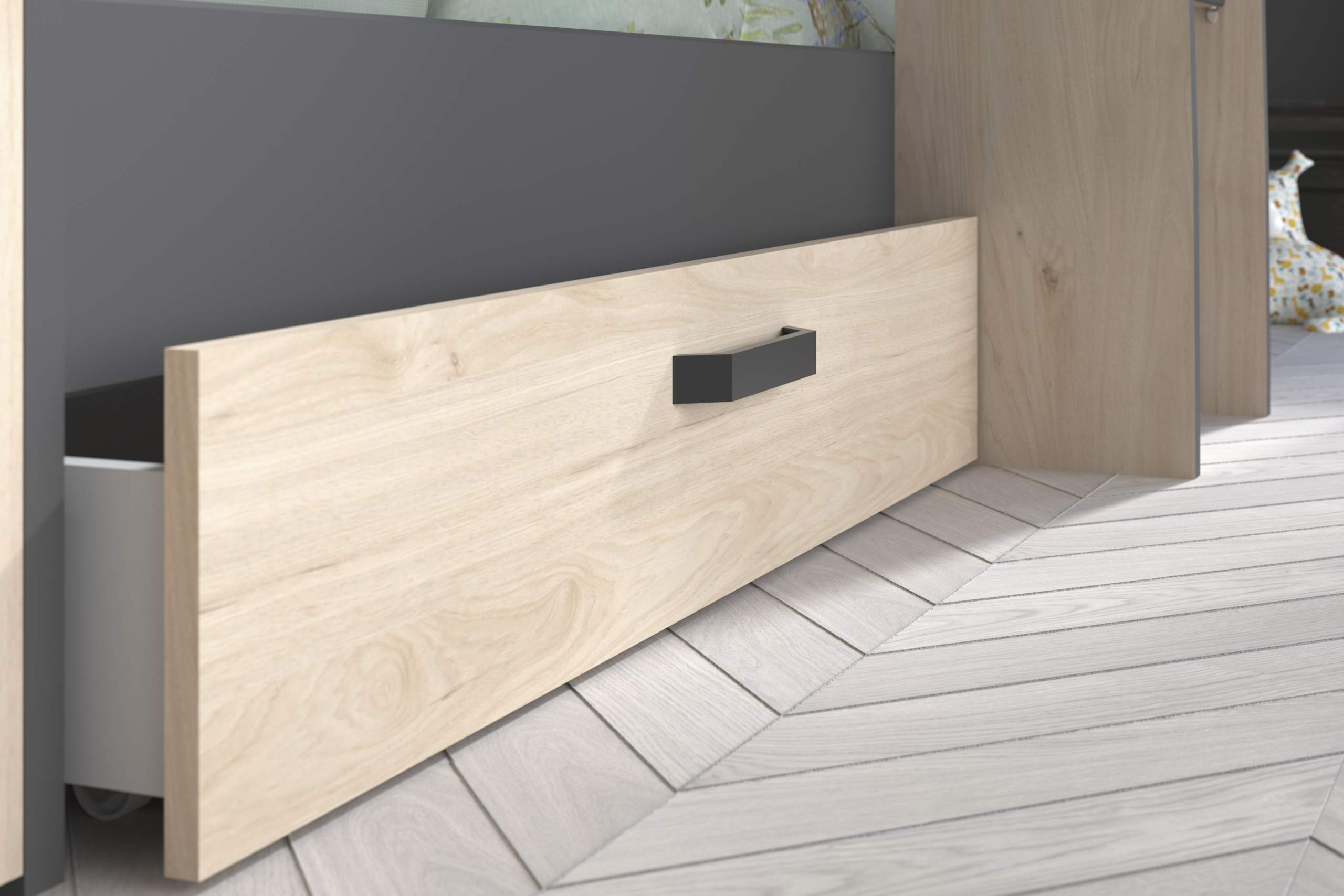 oak and grey drawer