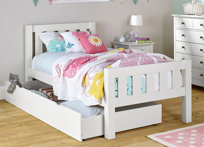 surf white single bed with drawer