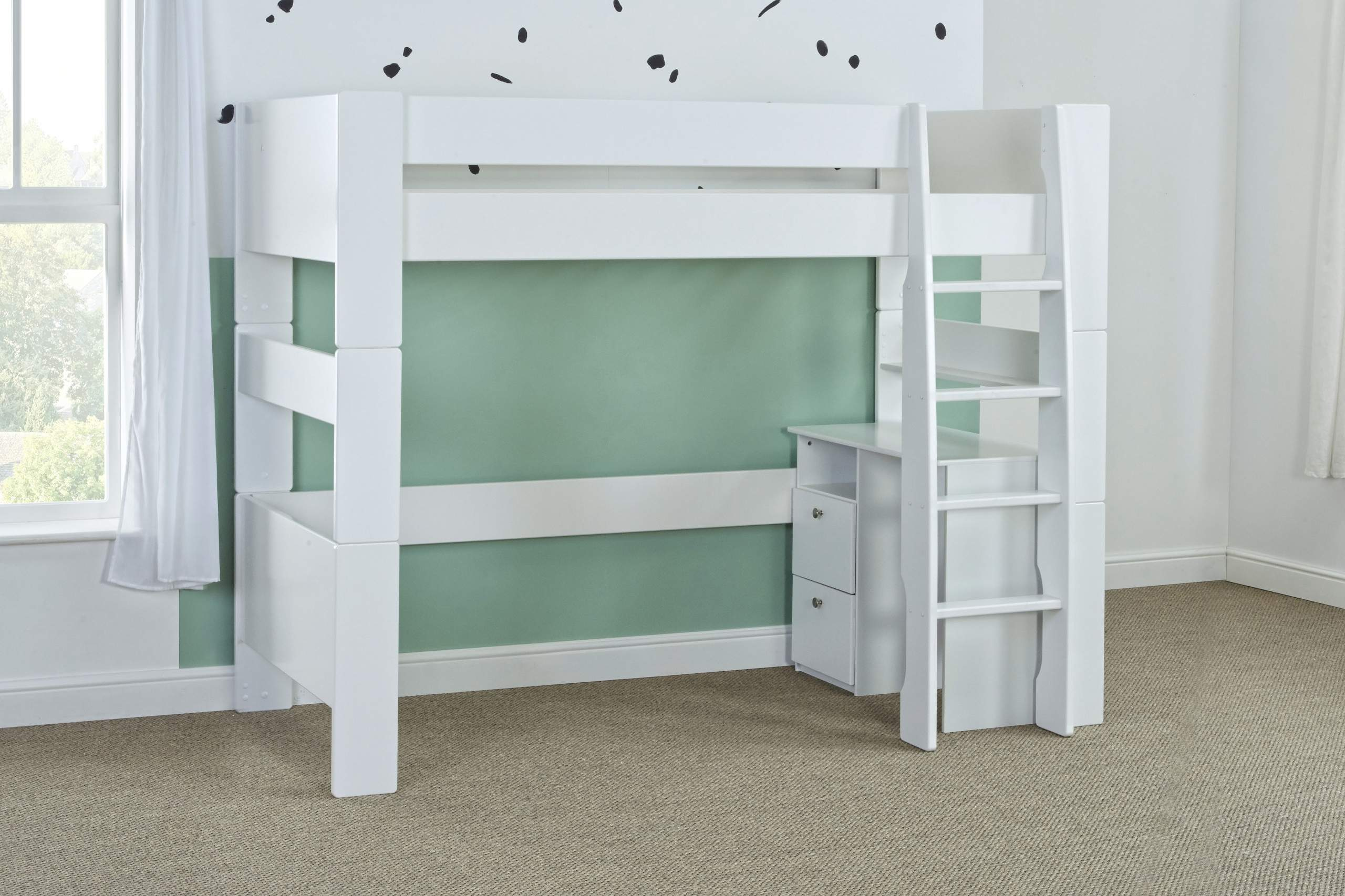 Bloc high sleeper with desk - naked