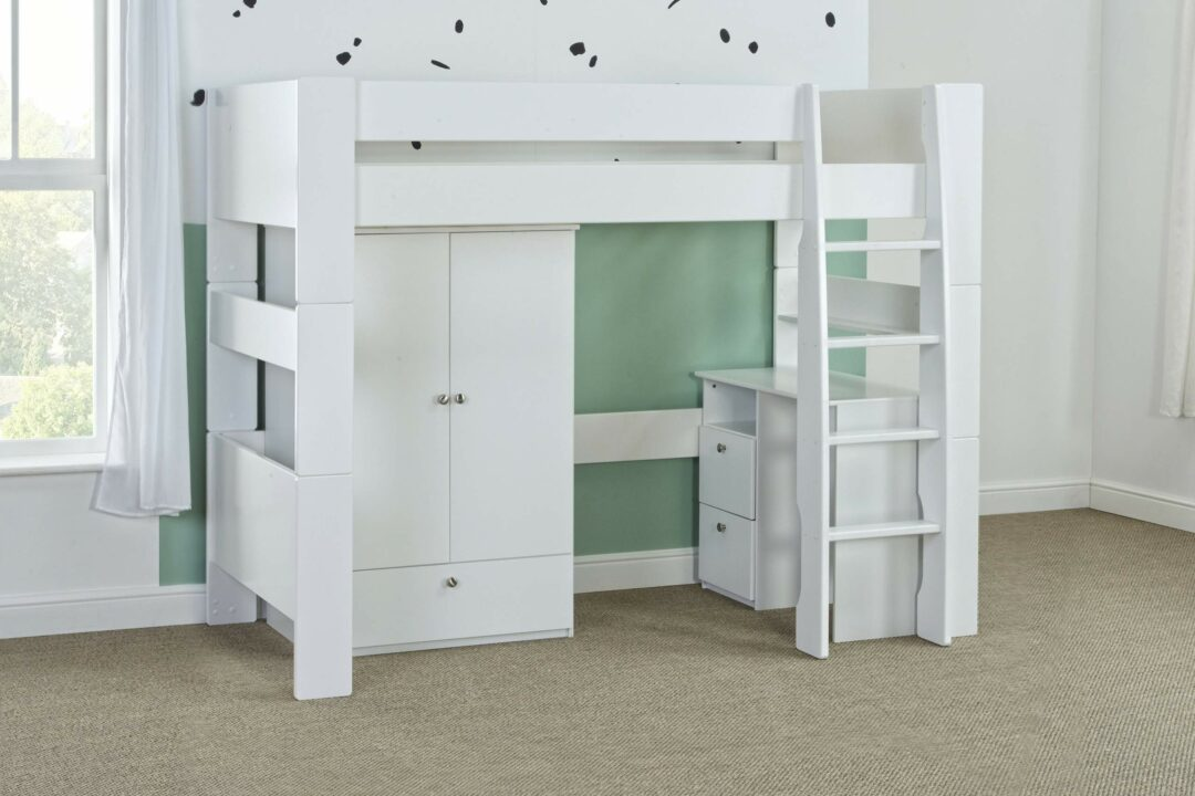 Bloc high sleeper with robe and desk - naked