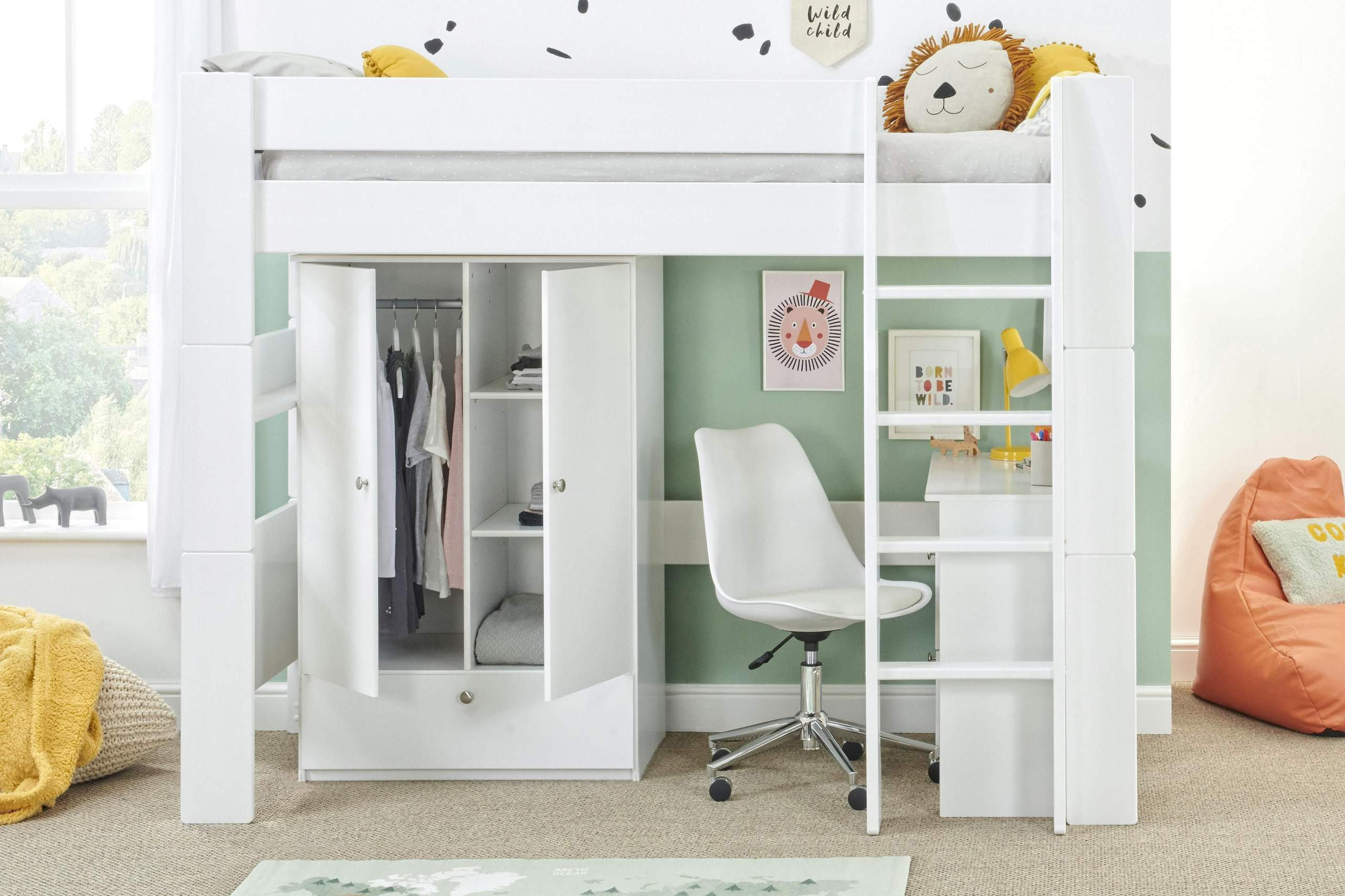 Bloc high sleeper with open robe and desk