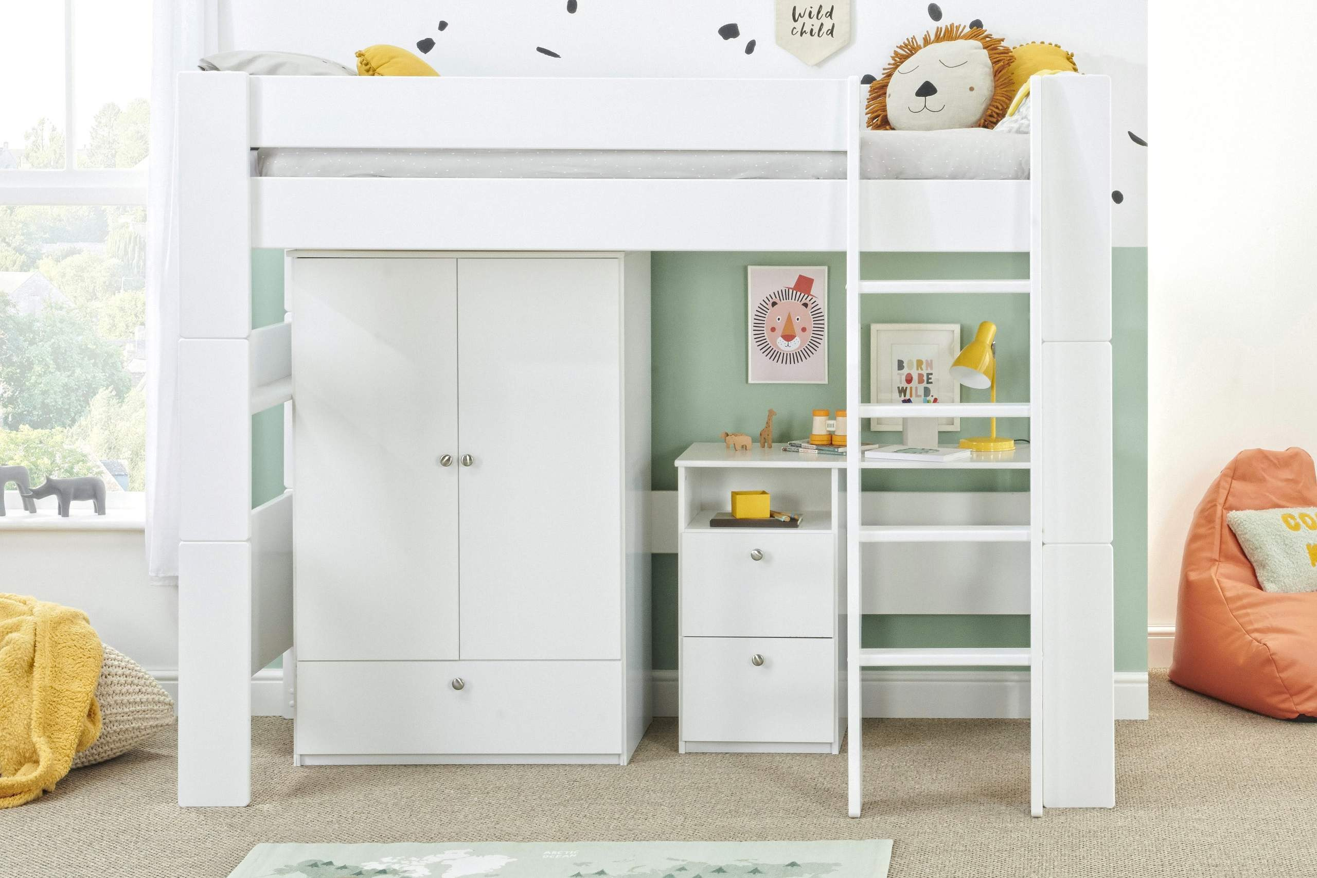 Bloc high sleeper with wardrobe and desk straight