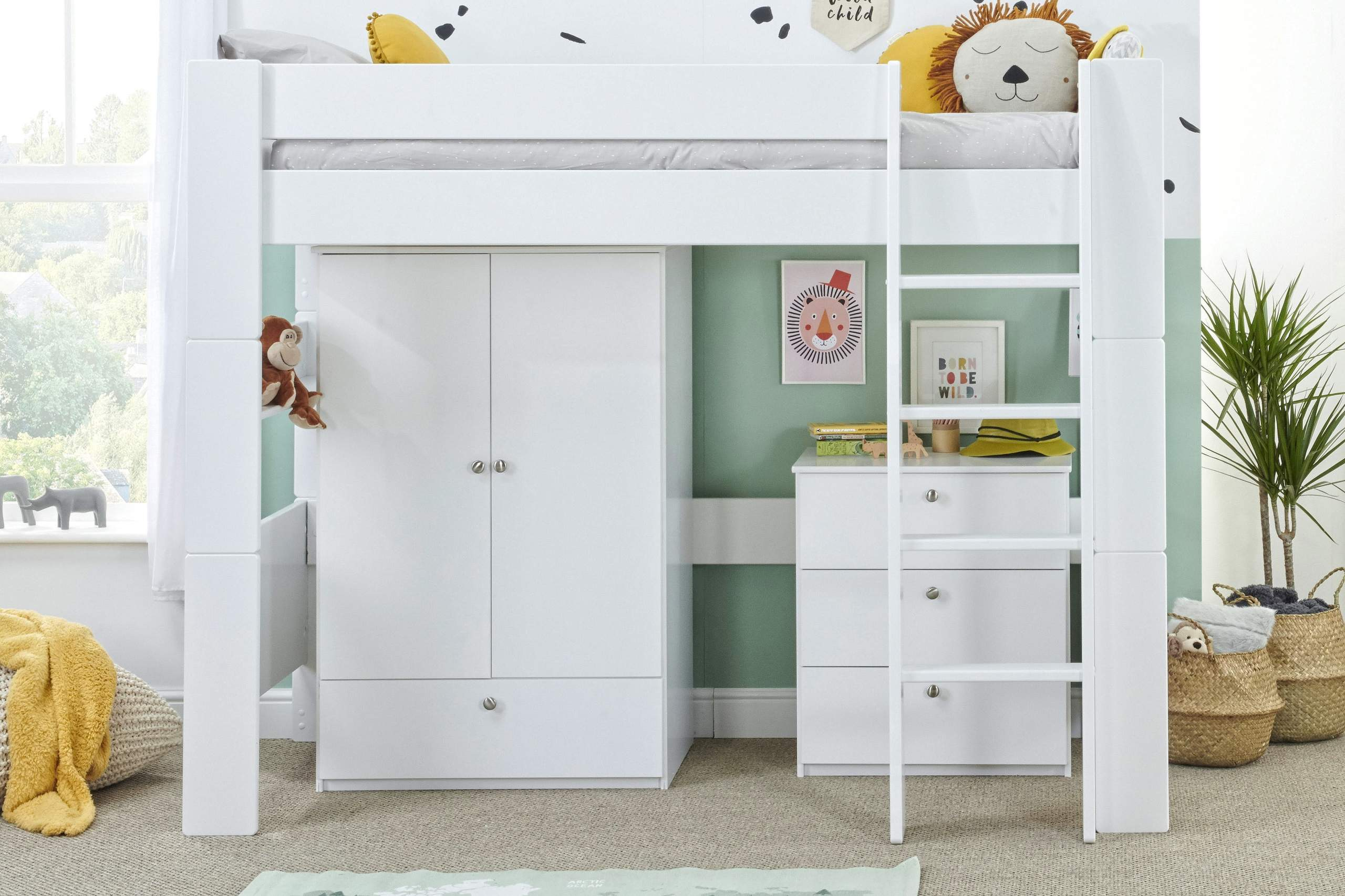 Bloc high bed with robe and chest