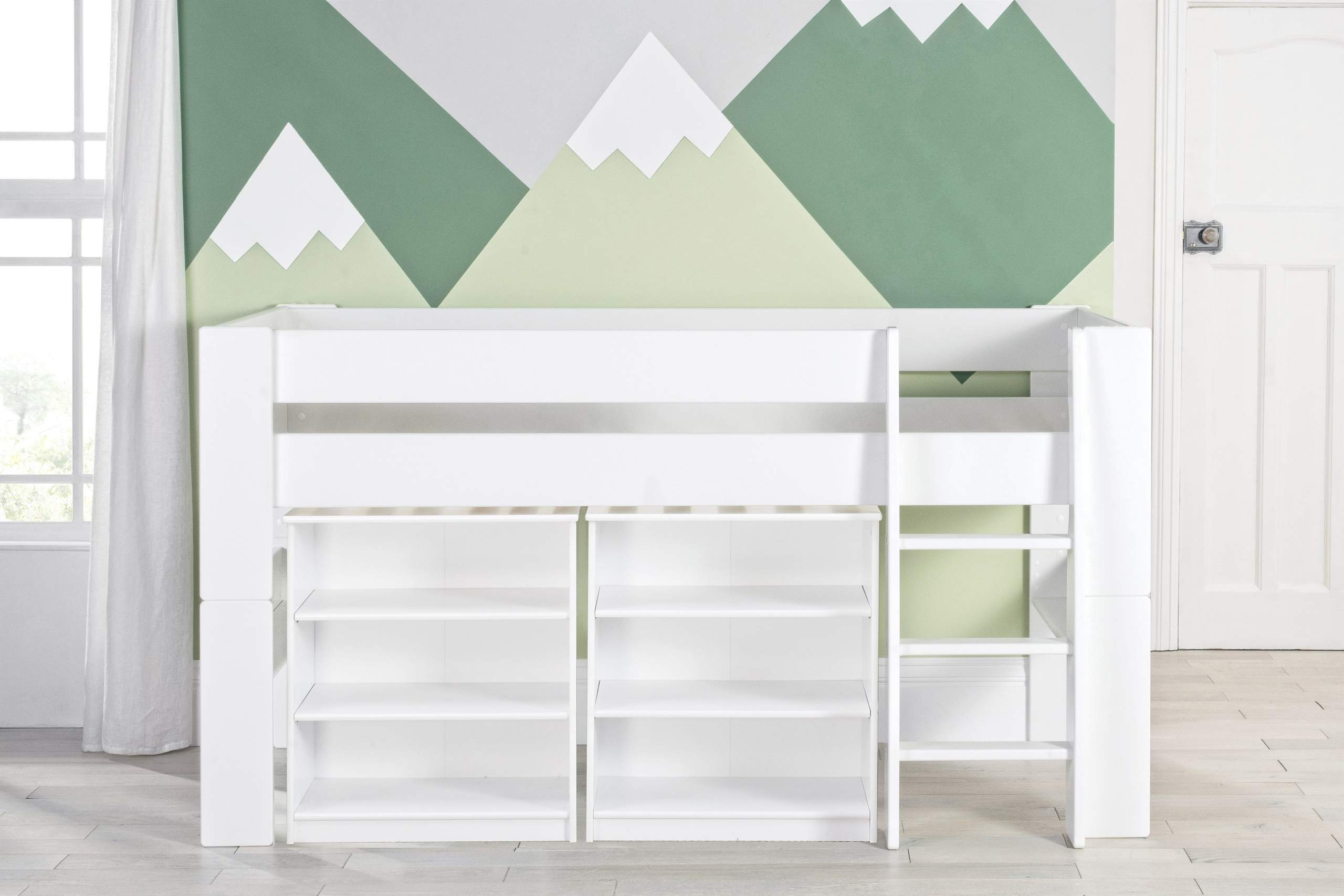 Bloc Midsleeper with two bookcases - naked straight