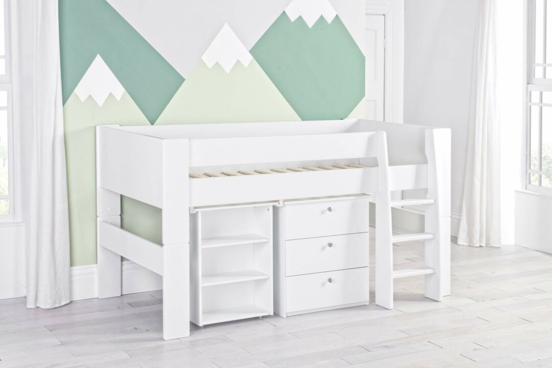 Bloc Midsleeper with desk and chest - naked