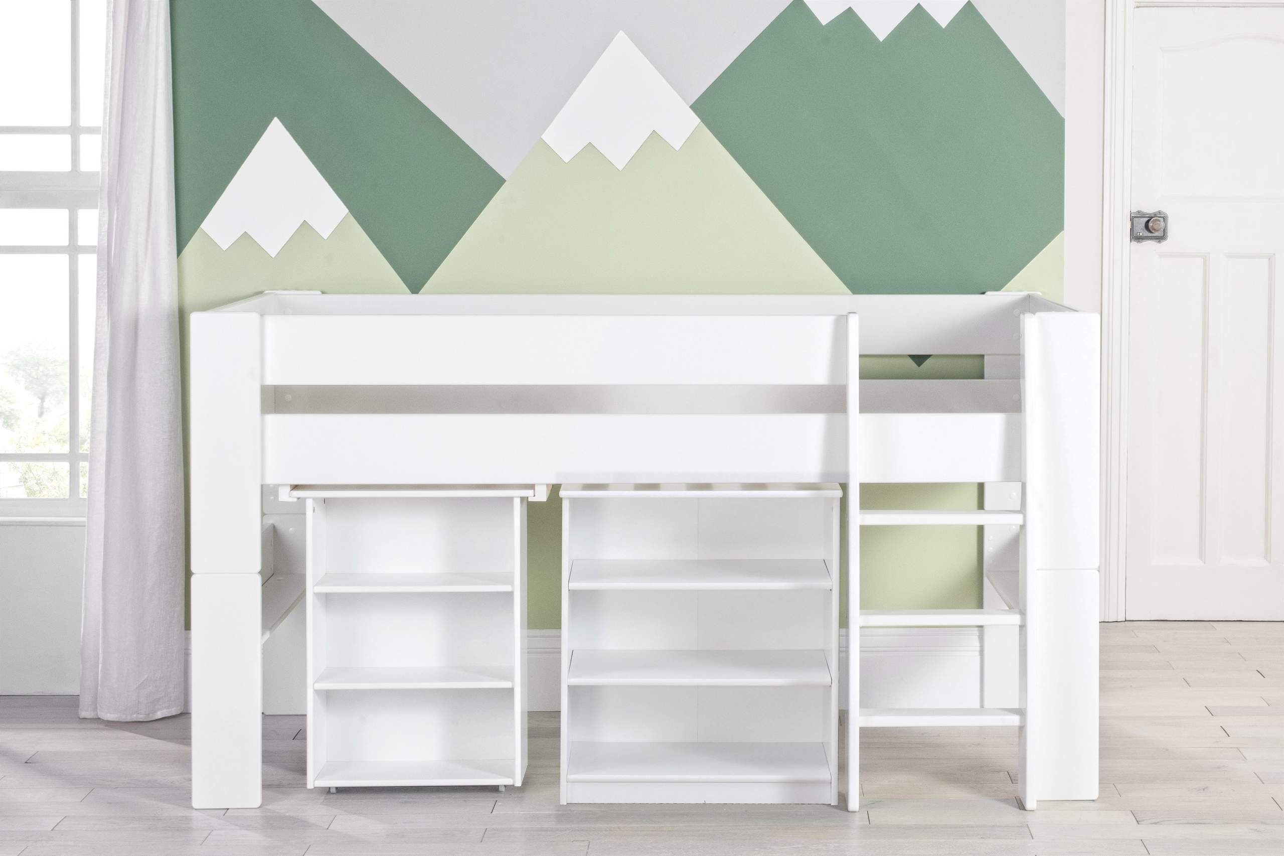 Bloc Midsleeper with pull out desk and bookcase -naked