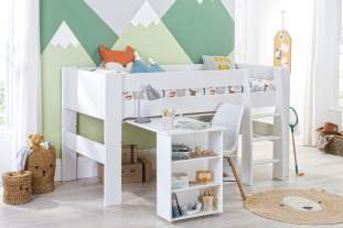Bloc Midsleeper with pull out desk and bookcase