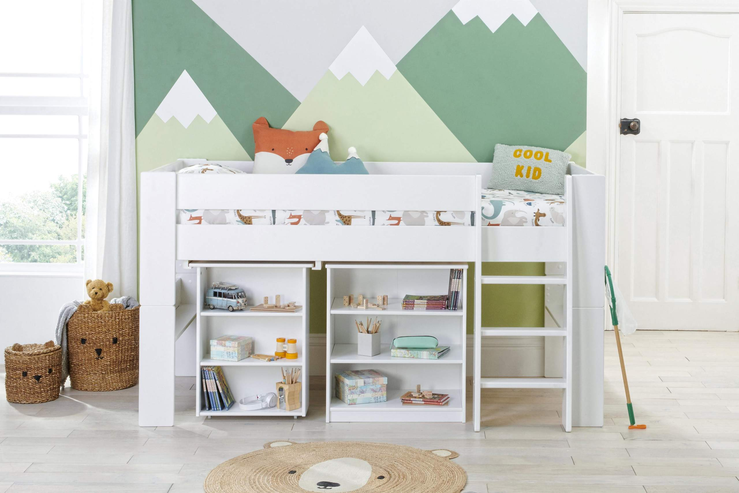 Bloc mid with desk and bookcase - straight