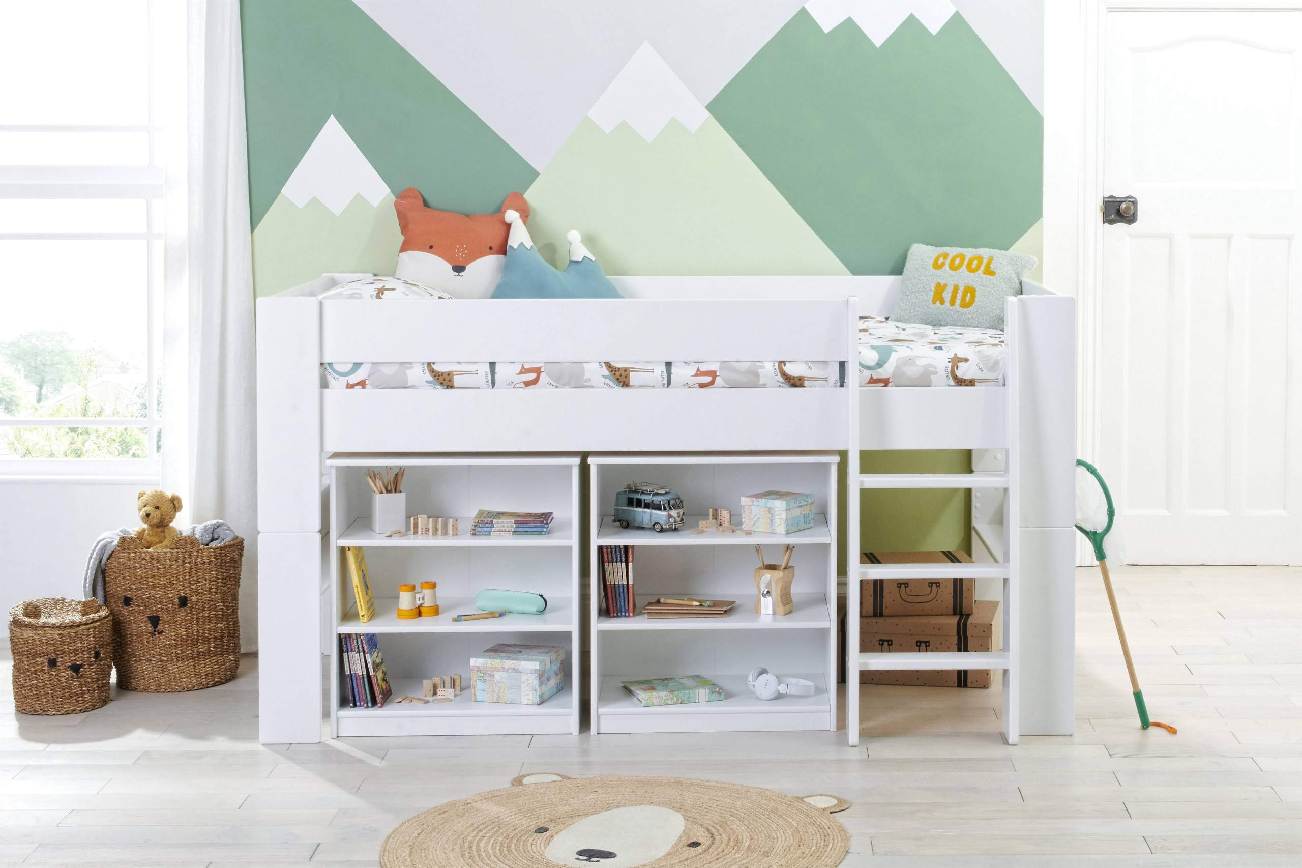 Bloc Midsleeper with 2 bookcases - straight