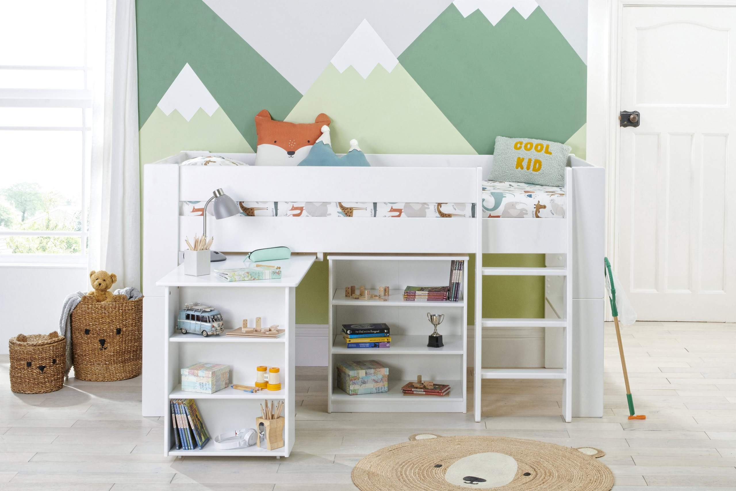 Bloc midsleeper with desk and bookcase