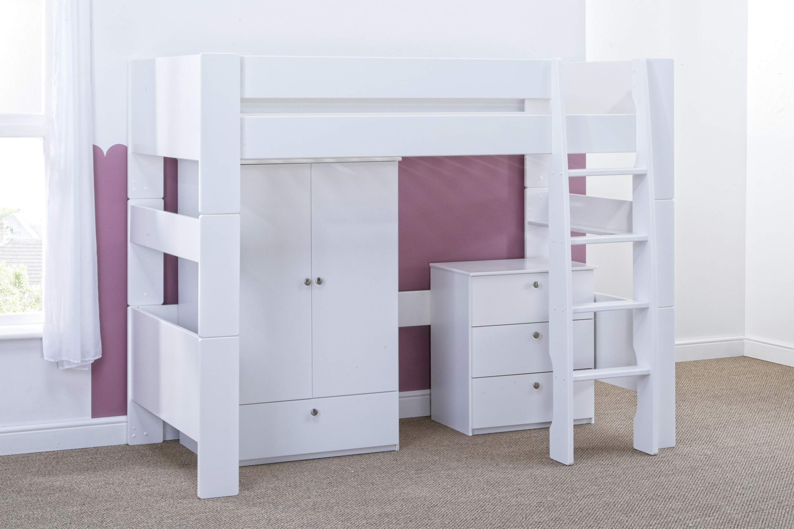 Bloc High Sleeper with robe and chest - naked angle