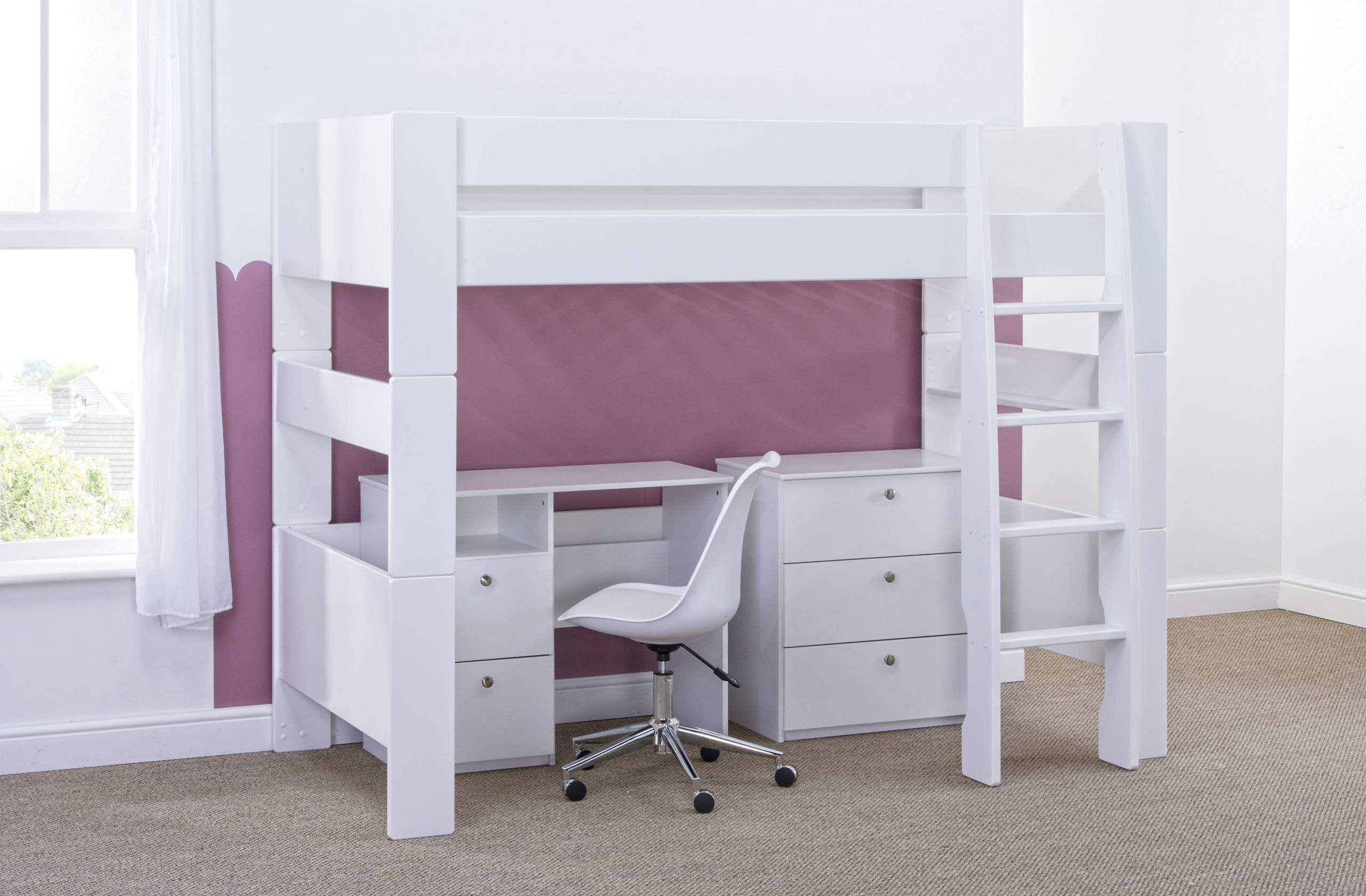 High Sleeper with Desk and chest - naked