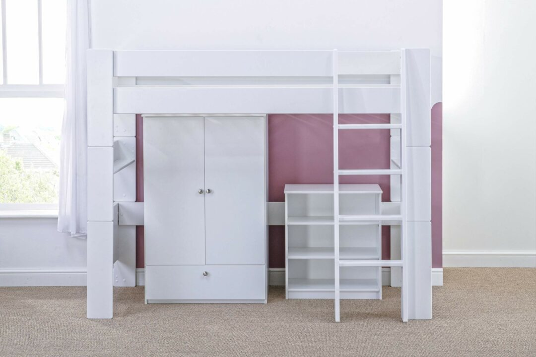 Bloc High Sleeper with robe and bookcase - naked