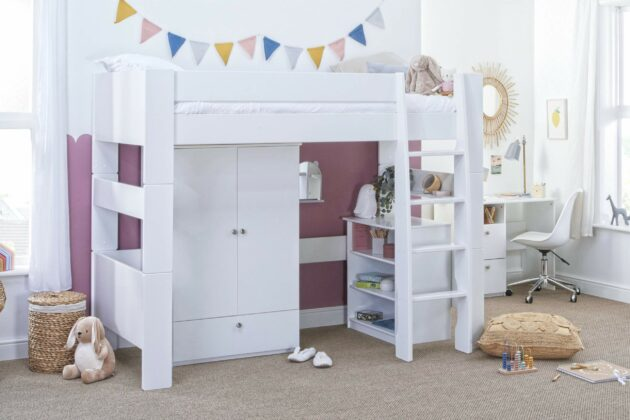 Bloc High Sleeper with robe and bookcase