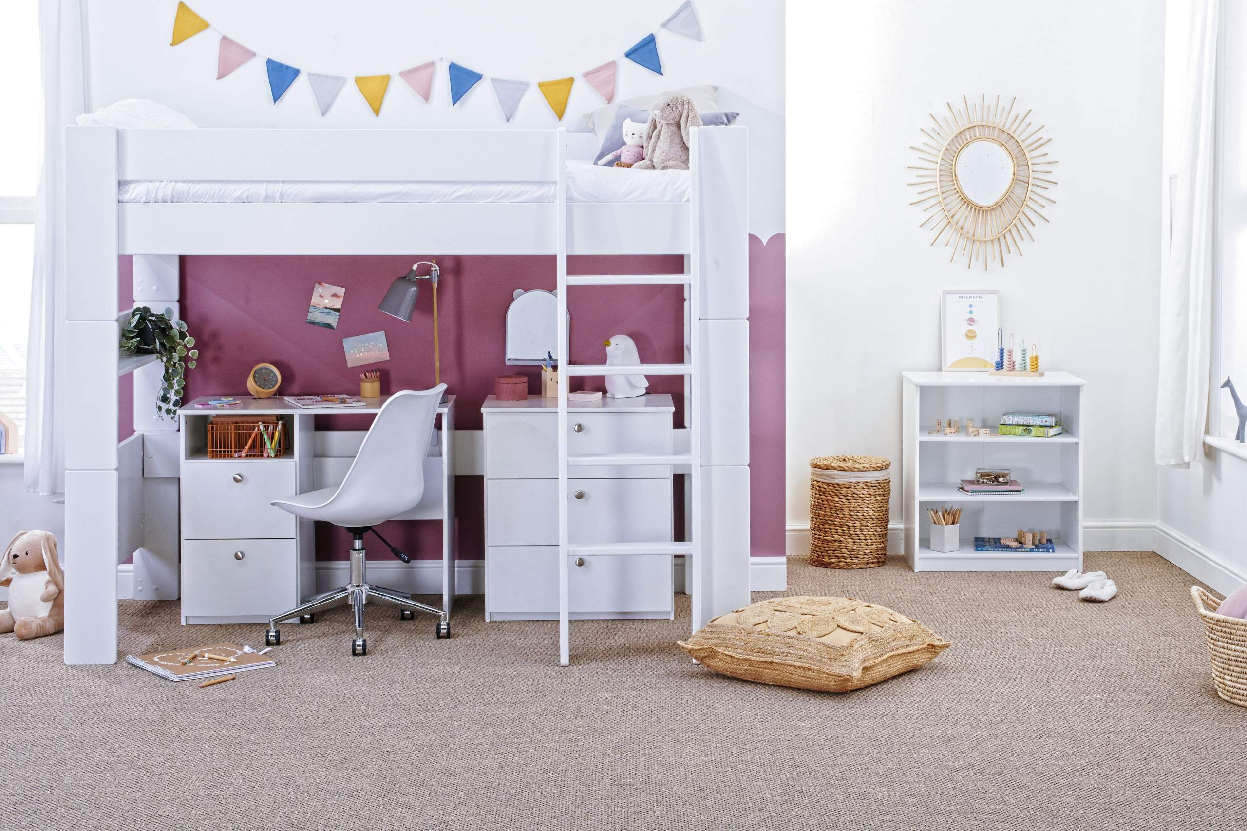 High Sleeper with Desk and chest - straight