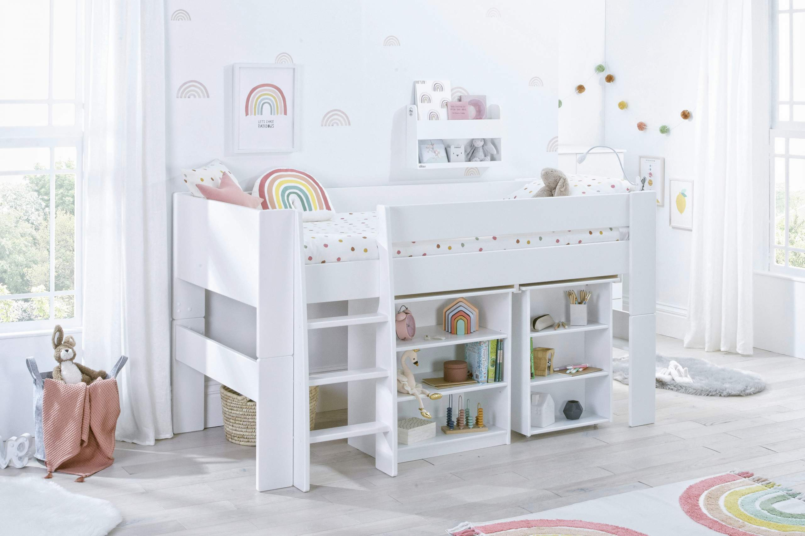 Rainbow Bloc Midsleeper with desk and bookcase- angle