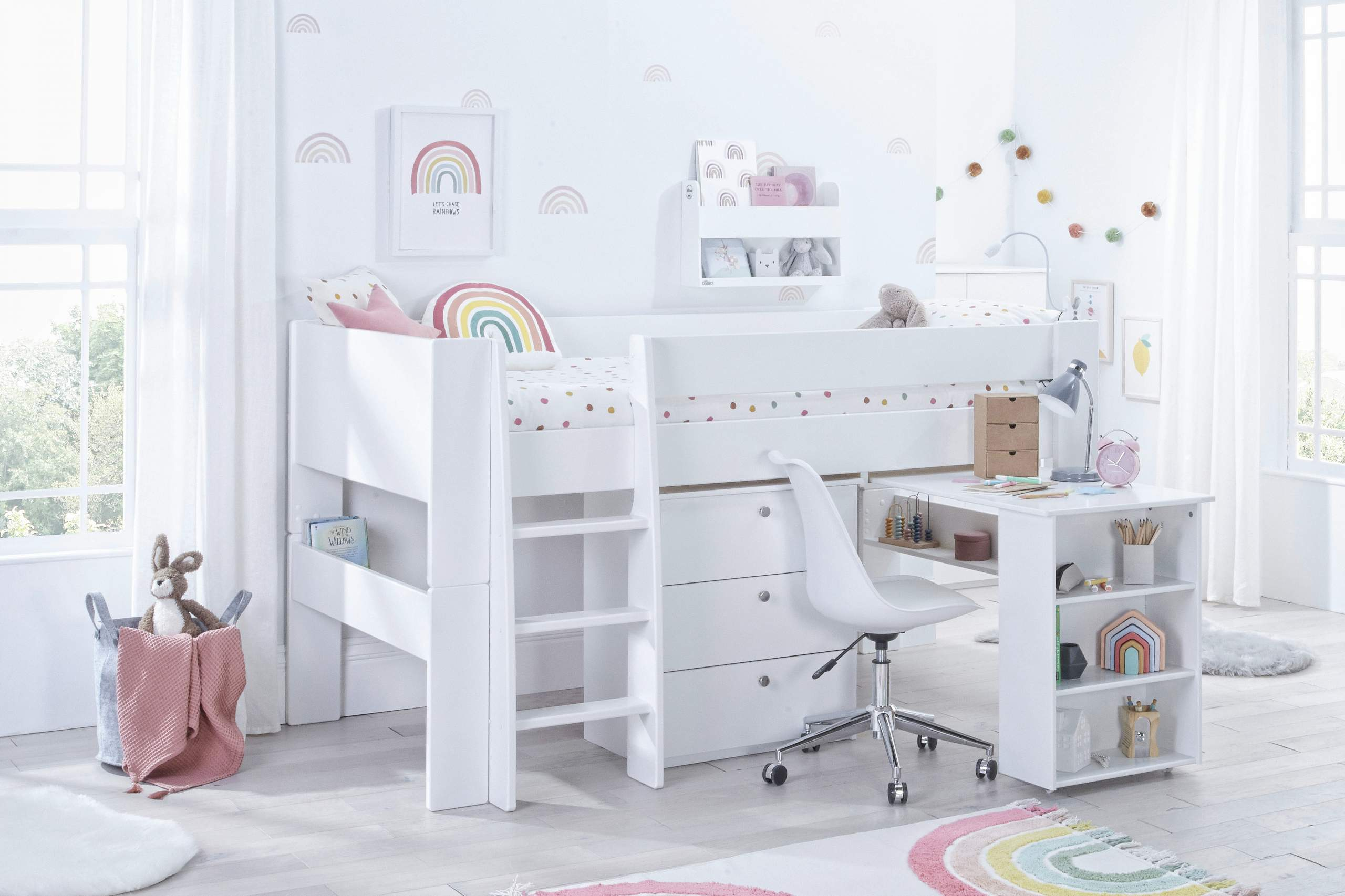 Bloc Midsleeper with desk and chest