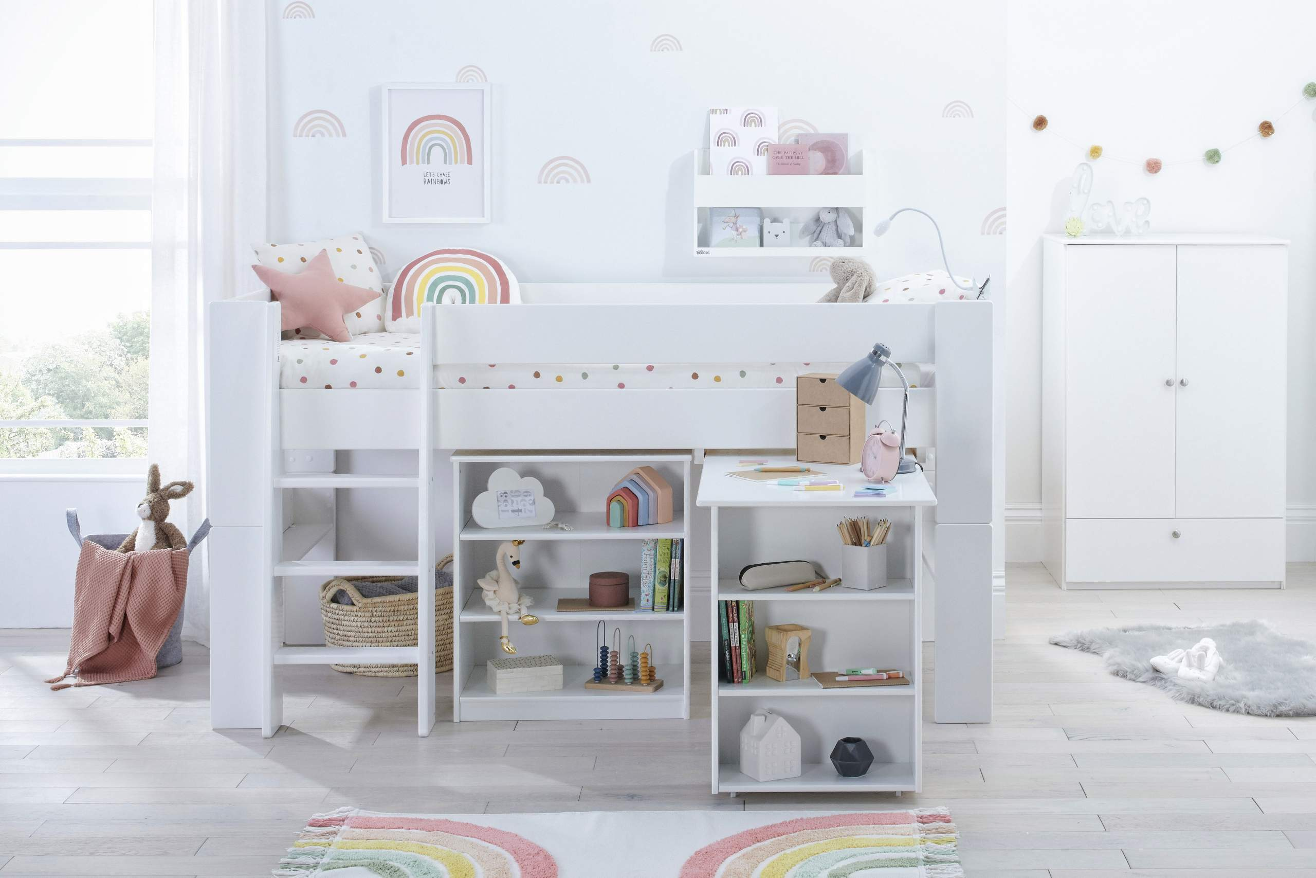 Rainbow Bloc Mid with desk and bookcase
